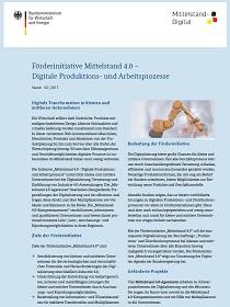 Cover der Publikation Förderinitiative Mittelstand 4.0 – Digitale Produktions- und Arbeitsprozesse